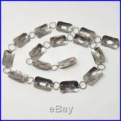 Vintage Navajo Link Concho Belt Sterling Silver Turquoise 36 Hand Stamped 79.3g