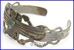 Vintage Navajo Sterling Silver Old Pawn Stamped Thunderbird Snakes Cuff Bracelet