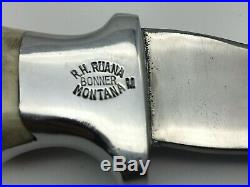 Vintage R. H. Ruana 22H Hatchet Bonner Montana M Stamp with Leather Sheath