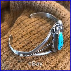 Vintage Sterling Silver & Turquoise Hand-stamped Navajo Cuff Bracelet