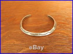 Vintage Tahe Navajo Sterling Silver Carinated Ingut Stamped Cuff Bracelet