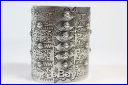 Vintage old pawn Navajo Hand-Stamped & Repoussé Sterling Silver Cuff Bracelet