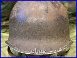 WW2 Front Seam Fixed Bale M1 Helmet Shell 221C heat stamp, US Army USMC WWII